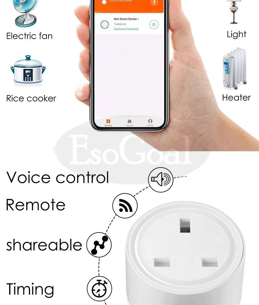 EsoGoal Mini WiFi Smart Socket Wireless Plug Socket Outlet Remote Control  Power Socket Smart Timer Plug for Smart Home