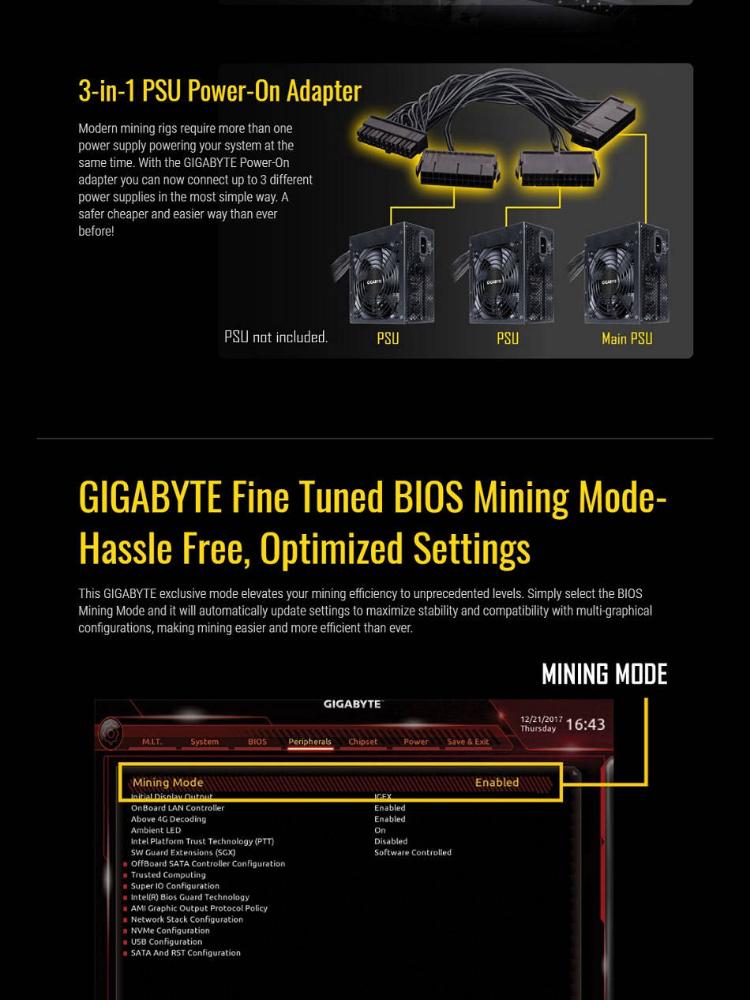 Gigabyte B250 FinTech LGA1151 Intel ATX Cryptocurrency