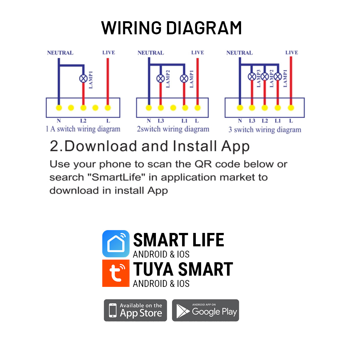 SMART WIFI Light Switch 3-GANG BLACK GLASS Touch Panel Wall LED Indicator -  Smart Home Automation IOT, TUYA / SMART LIFE App (Android, IOS) with Voice