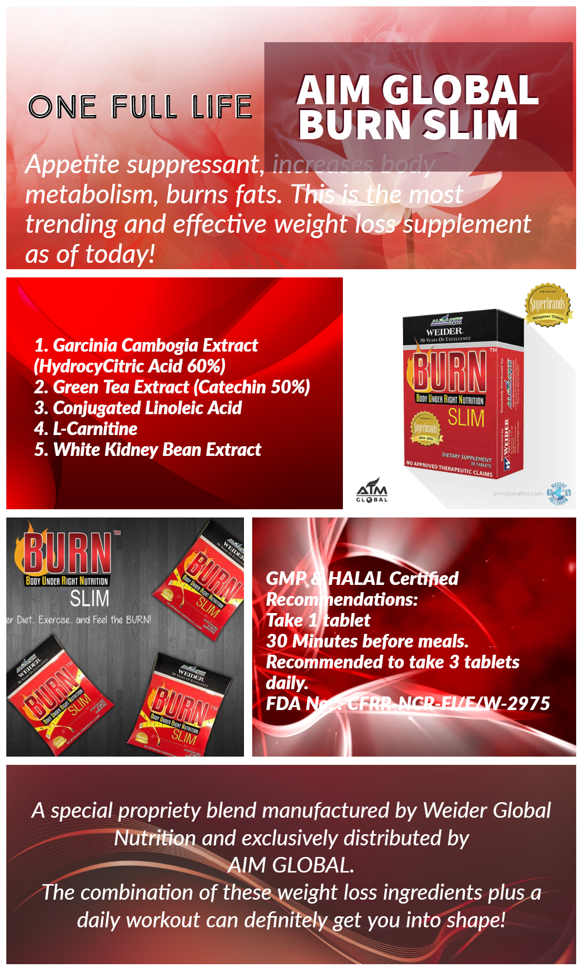 Specifications Of Aim Global Burn Slim 30 Tablets With FREE 2 Sachets Zensure Shape Up 7 Days Slimming Coffee