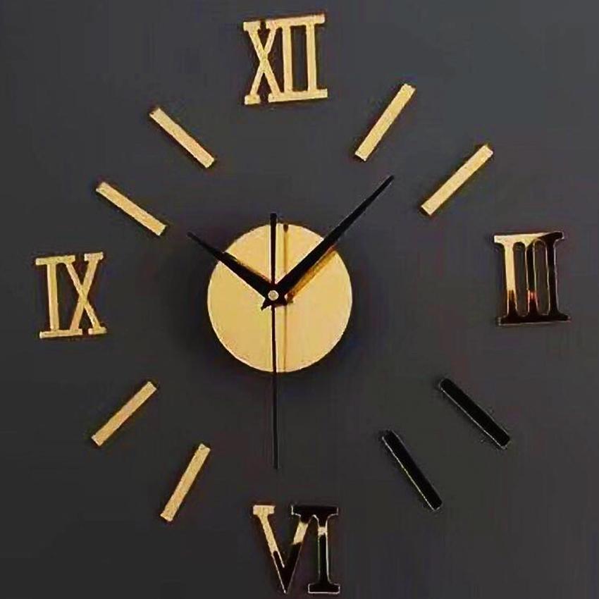 Acrylic DIY Mirror Roman Numerals Digits Wall Clock Stickers