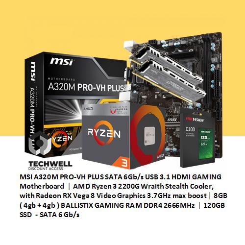 MSI A320M PRO-VH PLUS │ AMD Ryzen 3 2200G Wraith Stealth Cooler, with  Radeon RX Vega 8 │ 8GB ( 4gb + 4gb ) BALLISTIX RAM │ free 120GB SSD