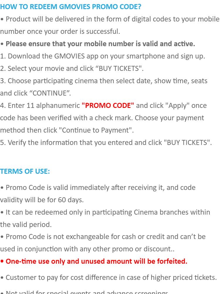 GMOVIES Promo Code P100 (SMS eVoucher)