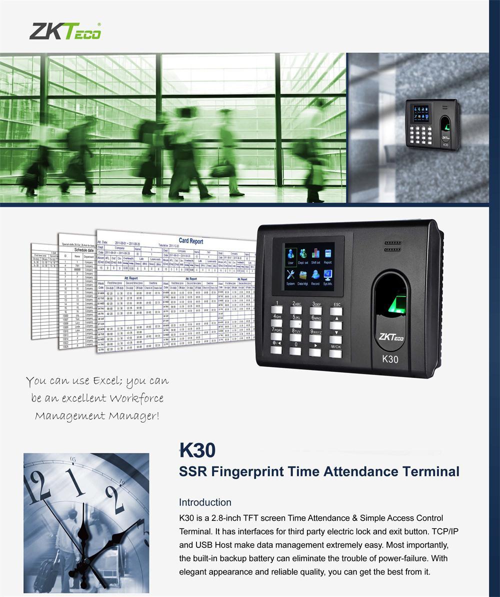 ZKTeco attendance and access control terminal fingerprint biometric  K30/K30ID