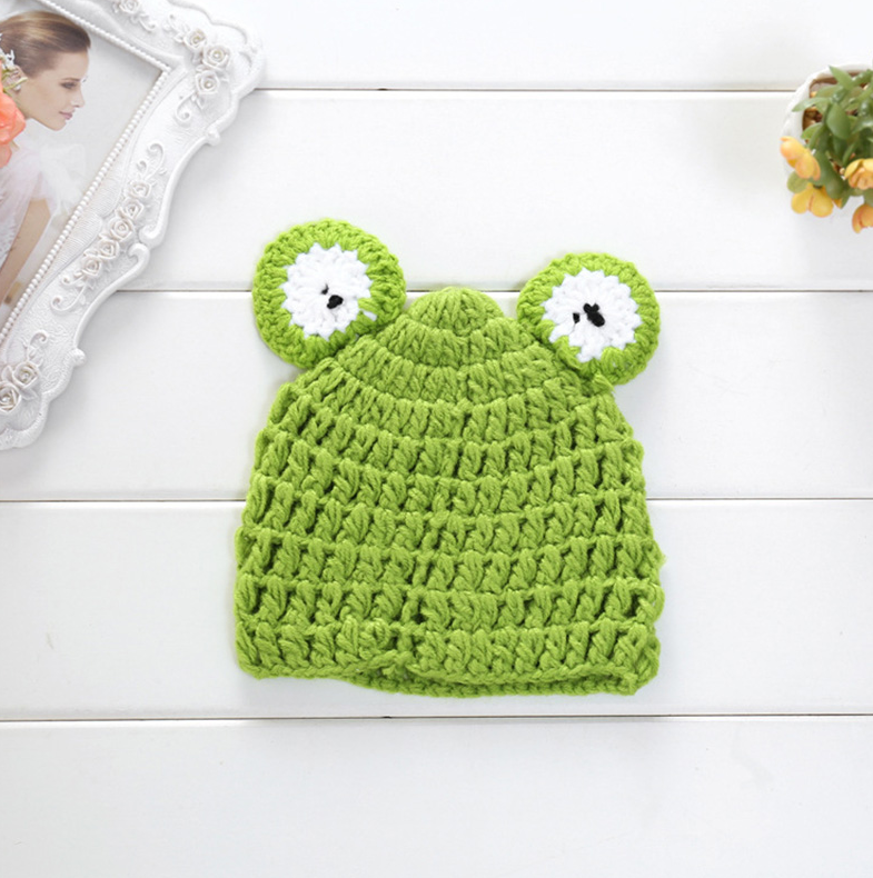 ce7dd14ea991e Baby Crochet Bonnet Hats Infant Newborn Photography Props Cartoon Frog  Photography Baby Crochet Accessories Handmade Knitted Kids Hat Infant Caps  ...