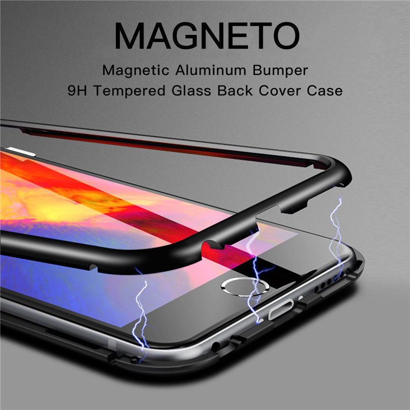 half off 2cbe8 bd72a Magneto Magnetic Absorption Metal Frame Tempered Glass Back Case for Huawei  P20 Pro
