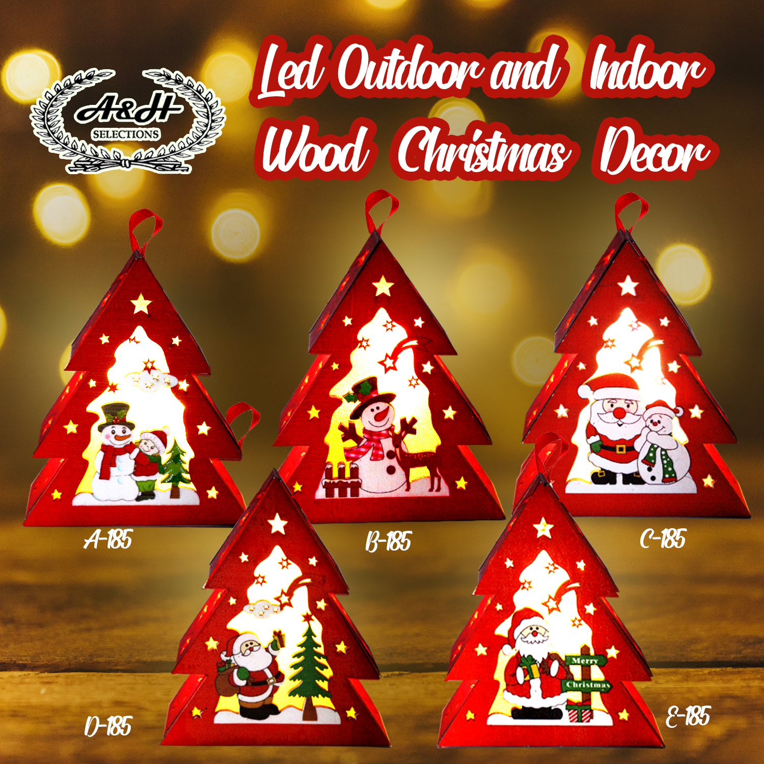 Led Christmas Decorations Indoor.A H Led Christmas Decorations Decor Tree Santa Claus Snow Man 185