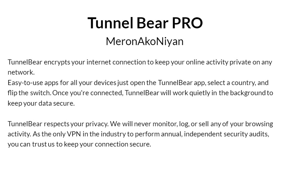 Tunnel Bear PRO (BEST AFTERSALES ~ INSTANT DELIVERY ~ LIFETIME WARRANTY)