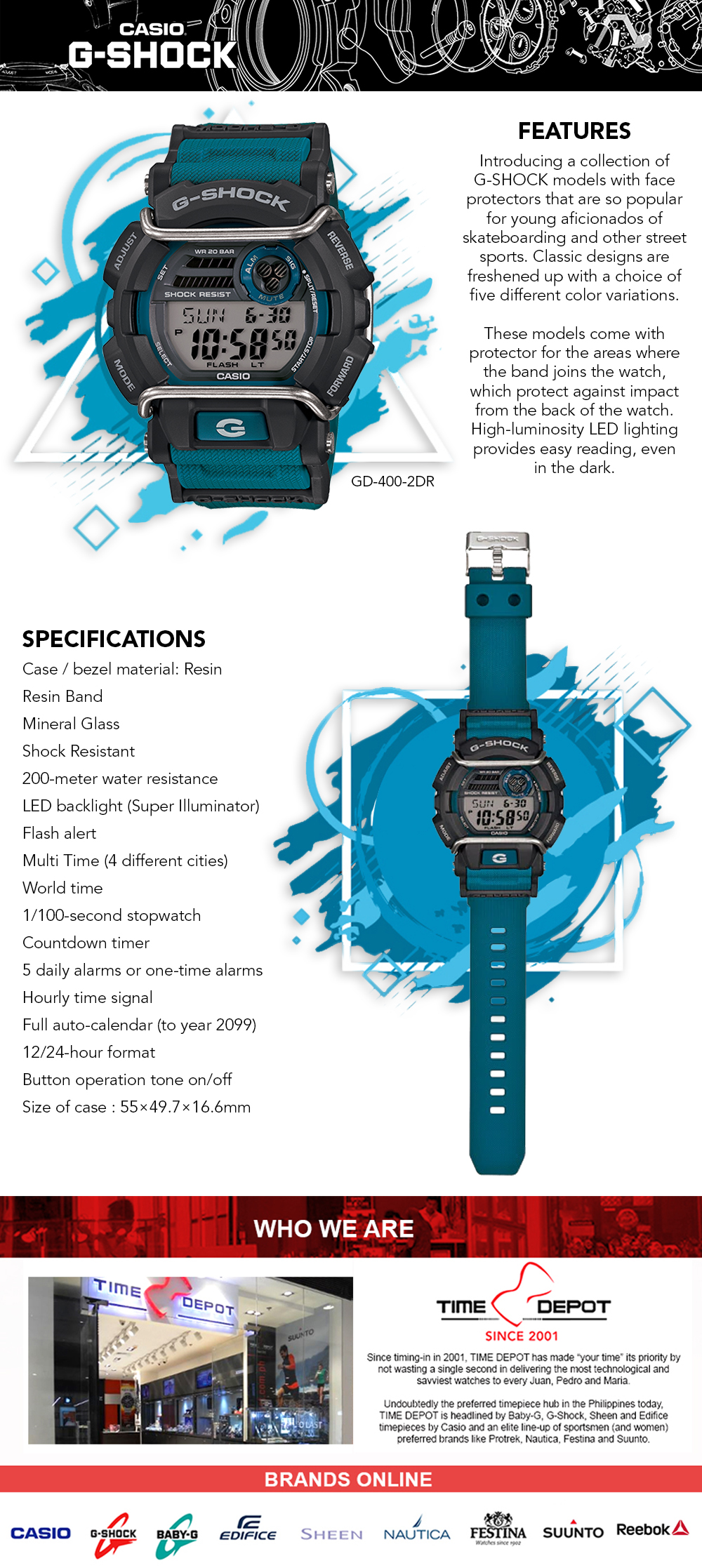 6516f252862 Specifications of Casio G-Shock Super illuminator with protector Men's Blue  Resin Strap Watch GD-400-2DR