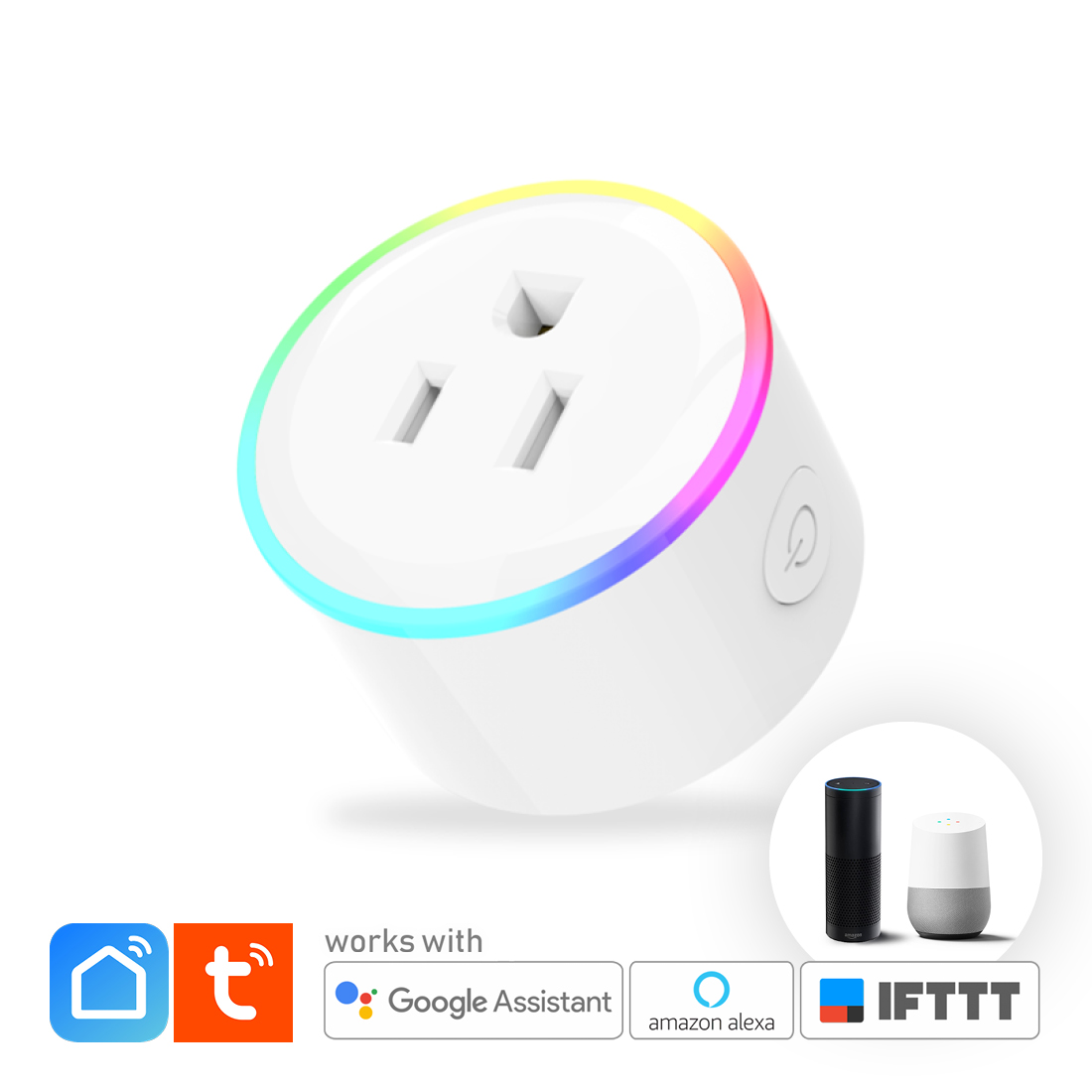SMART WIFI Plug Socket Outlet Switch 10A Autovolt with RGB LED Night Light  - Smart Home Automation IOT, TUYA / SMART LIFE App (Android, IOS), Voice