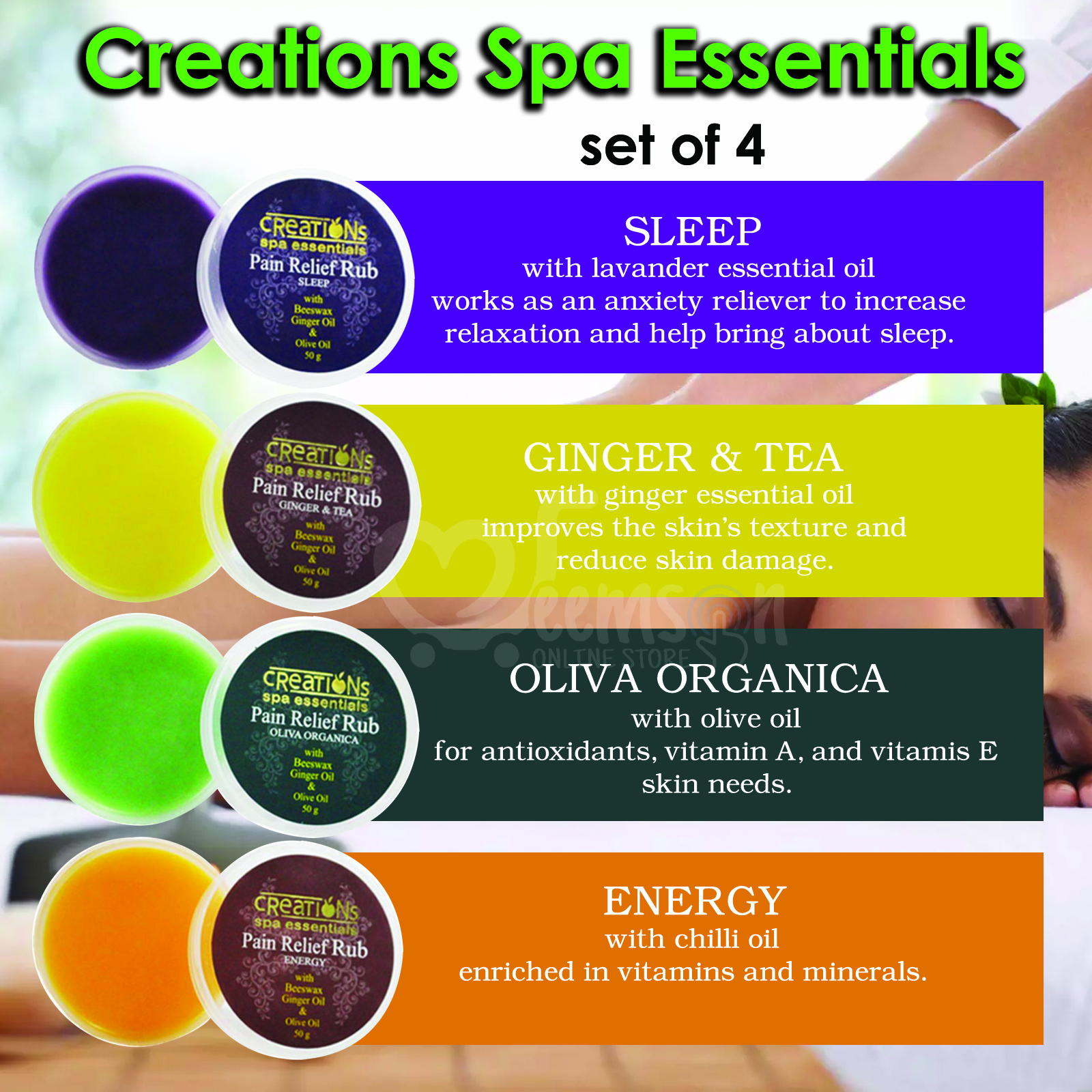 Creation Spa Essentials Pain Relief Rub With Essential Oil Aromatherapy Diy Spa Home Massage Body Massage Pain Reliever Non Greasy Lazada Ph