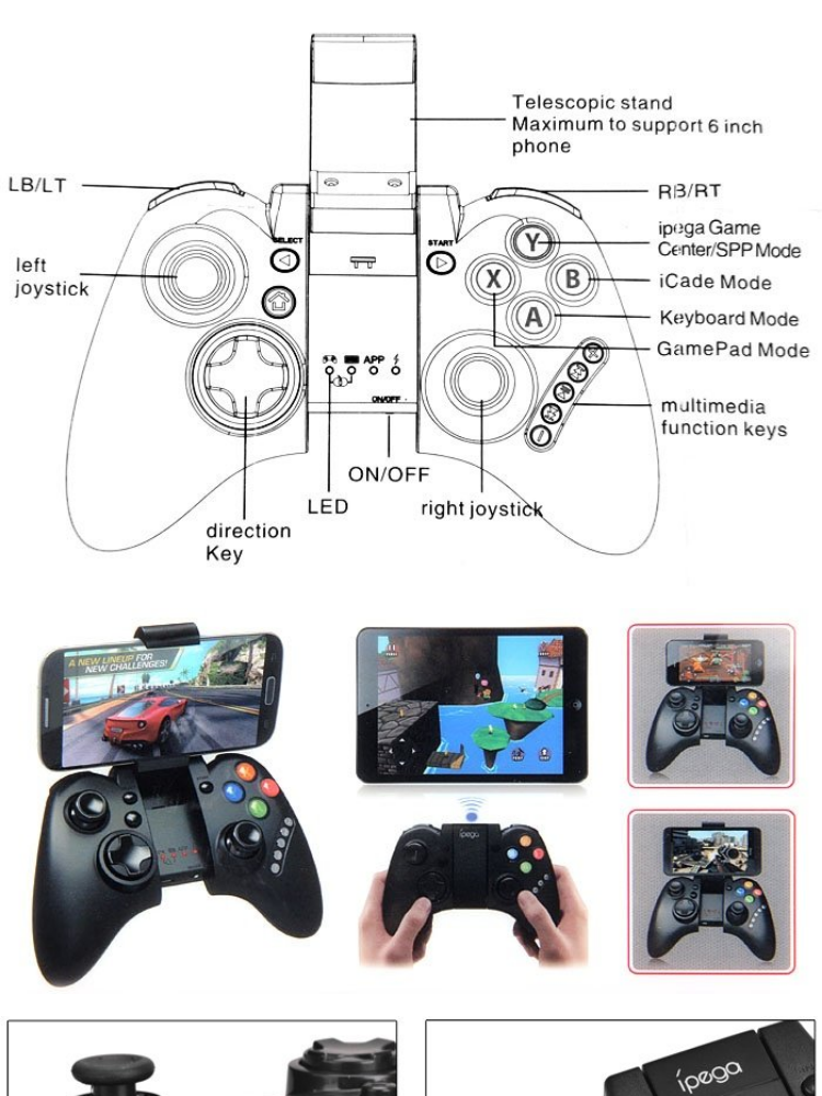 iPega PG-9021 Bluetooth Wireless Game Controller Gamepad Joystick for iOS &  Android