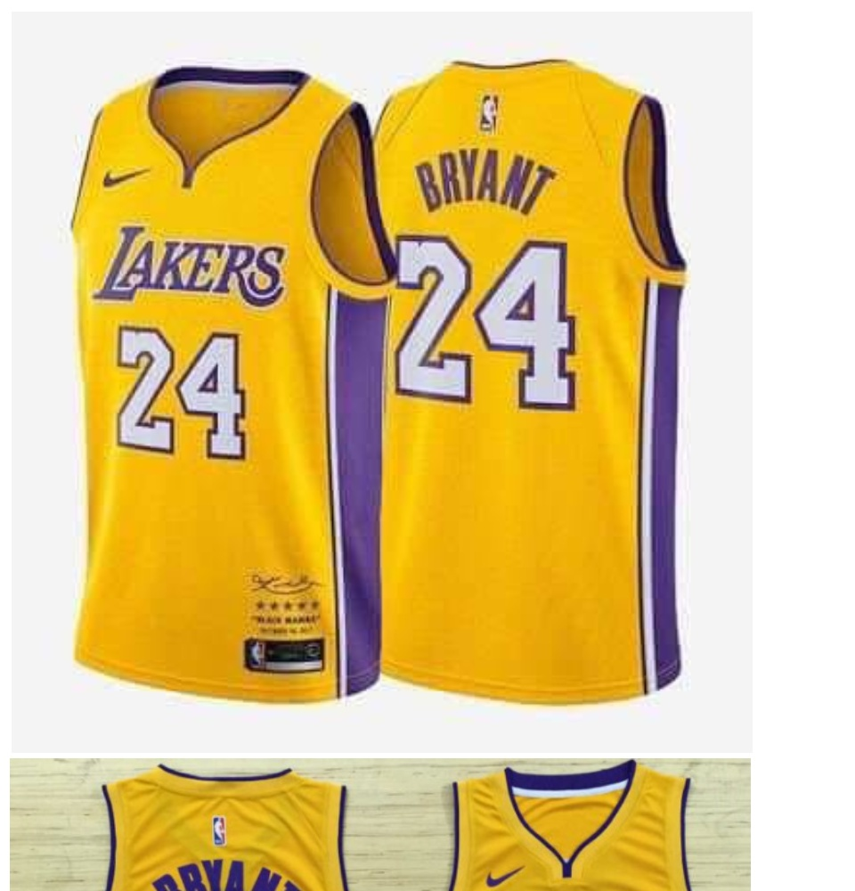 brand new c92b2 6bf1c Los Angeles Lakers 24 Kobe Bryant Basketball Jersey Yellow Decommissioning  Limited