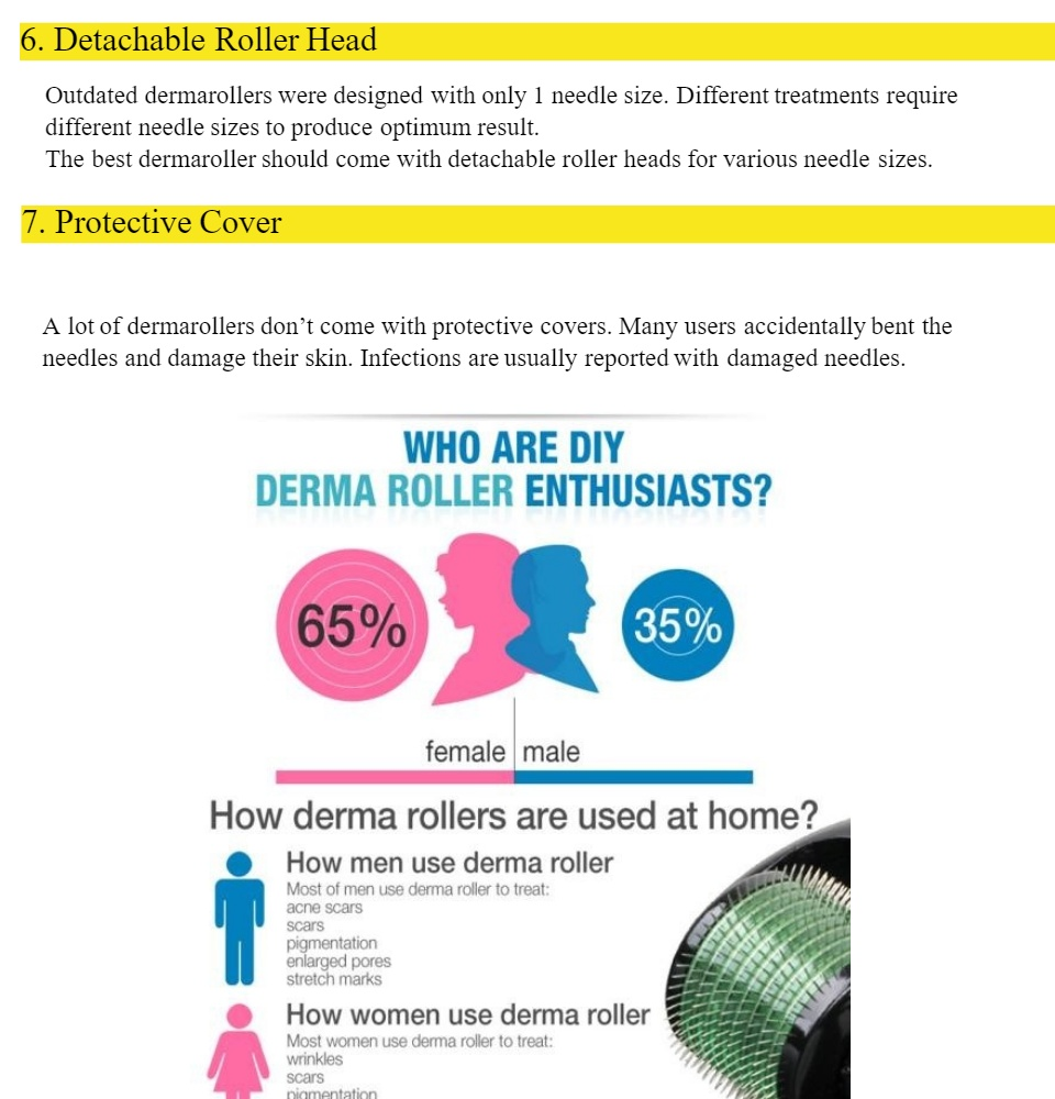 Derma Roller Titanium Gold Needles 0.5mm SP Made in Korea100% treatment for Acne scars, Old scars, wrinkles, stretchmarks, hairloss, pores, old scars, ...