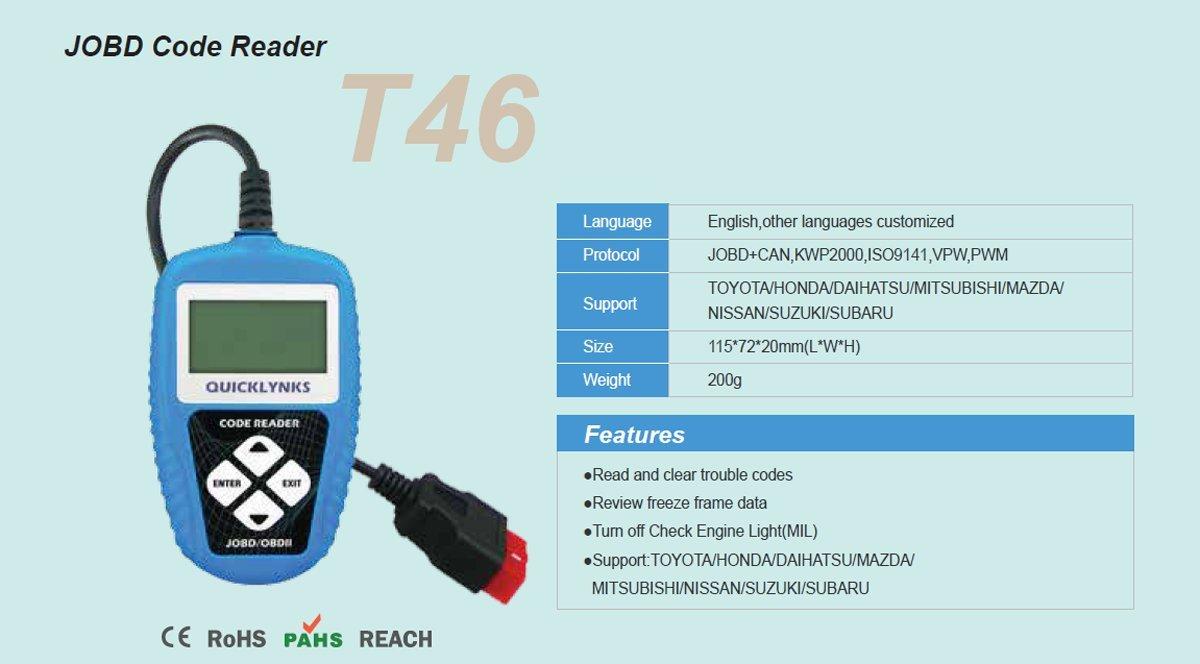 QUICKLYNKS T46 JOBD/EOBD/OBD2 digital Auto Code reader for Japanese cars,  Toyota, Honda, Daihatsu, Mitsubishi, Mazda, Nissan, Suzuki, Subaro-LOCAL