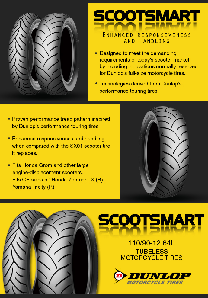 Dunlop ScootSmart 110/90-12 64L Tubeless Motorcycle Street Tires