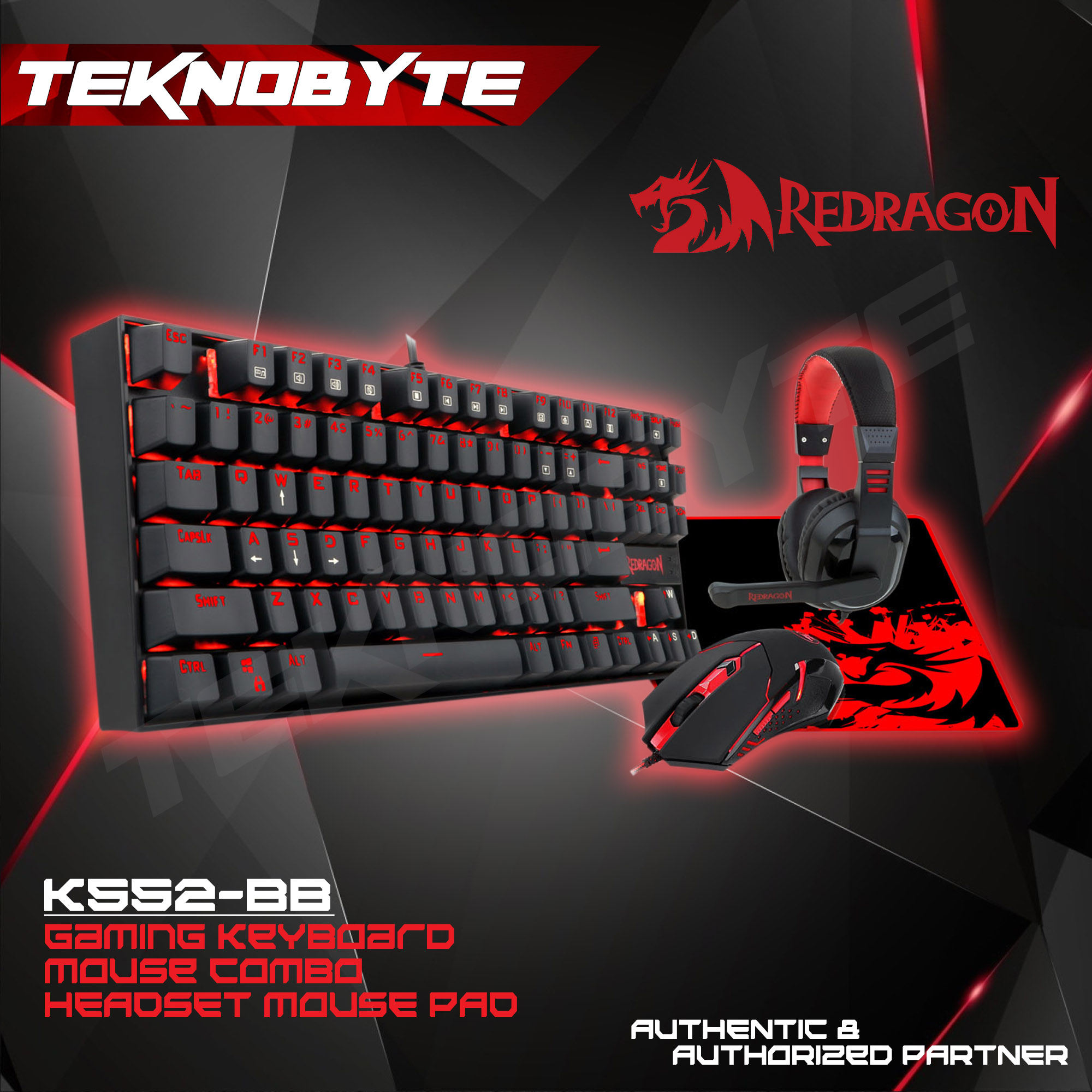 Redragon K552-BB 4 in 1 Set Gaming Essentials Mechanical  Keyboard(SplashProof/Red Backlit) / Mouse / MousePad(LargeXL) / Headset