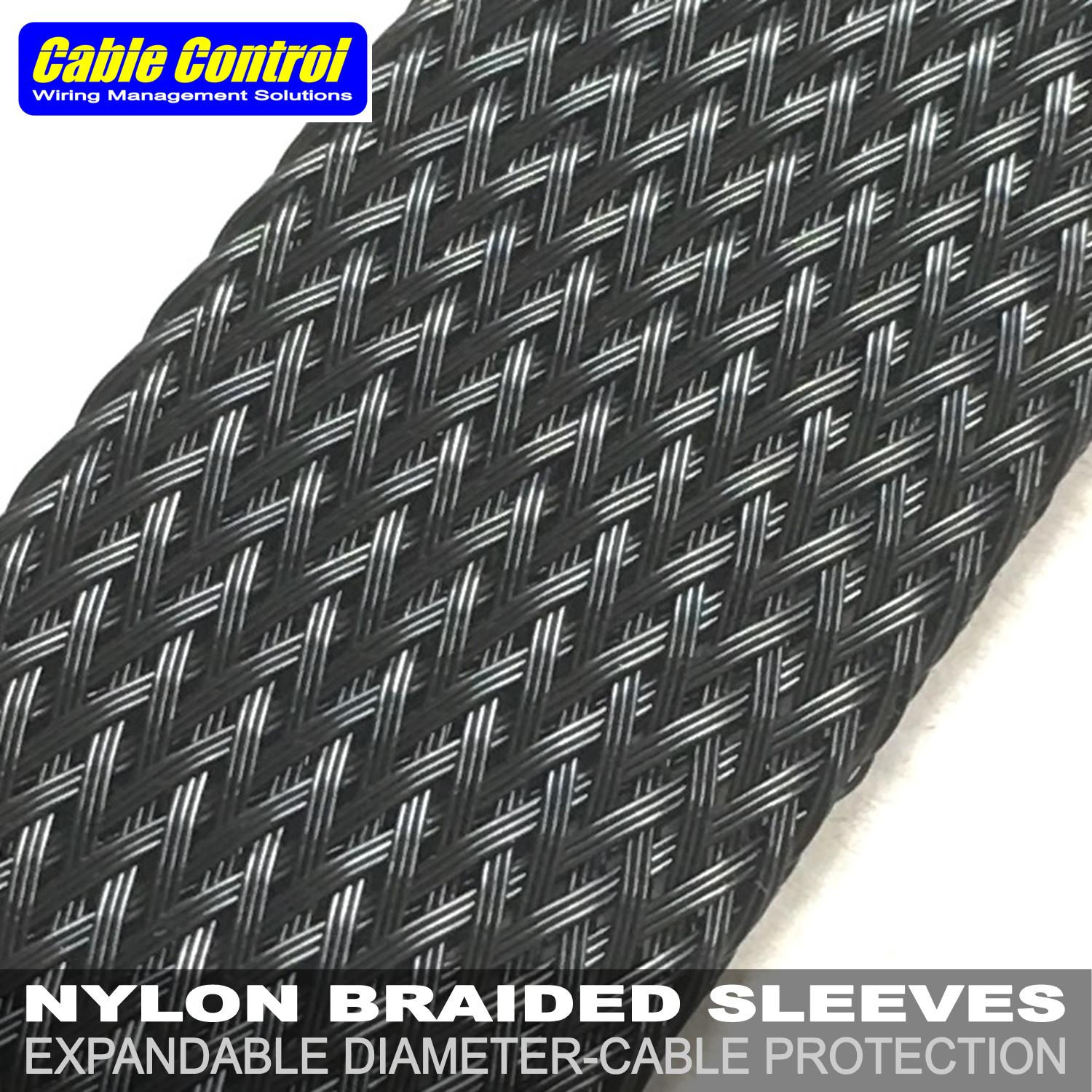Cable Control Expandable Nylon ided Sleeves 25mm Black , Wire sleeve on