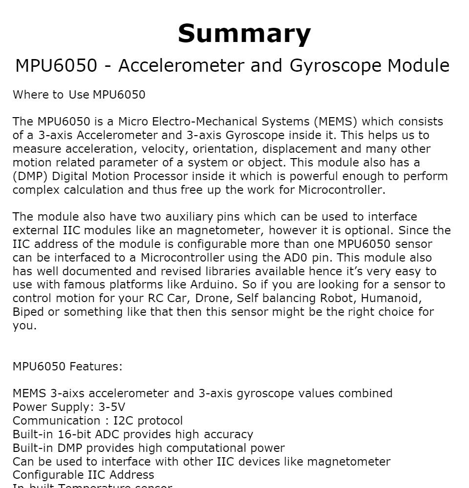 MPU6050 Accelerometer and Gyroscope Module