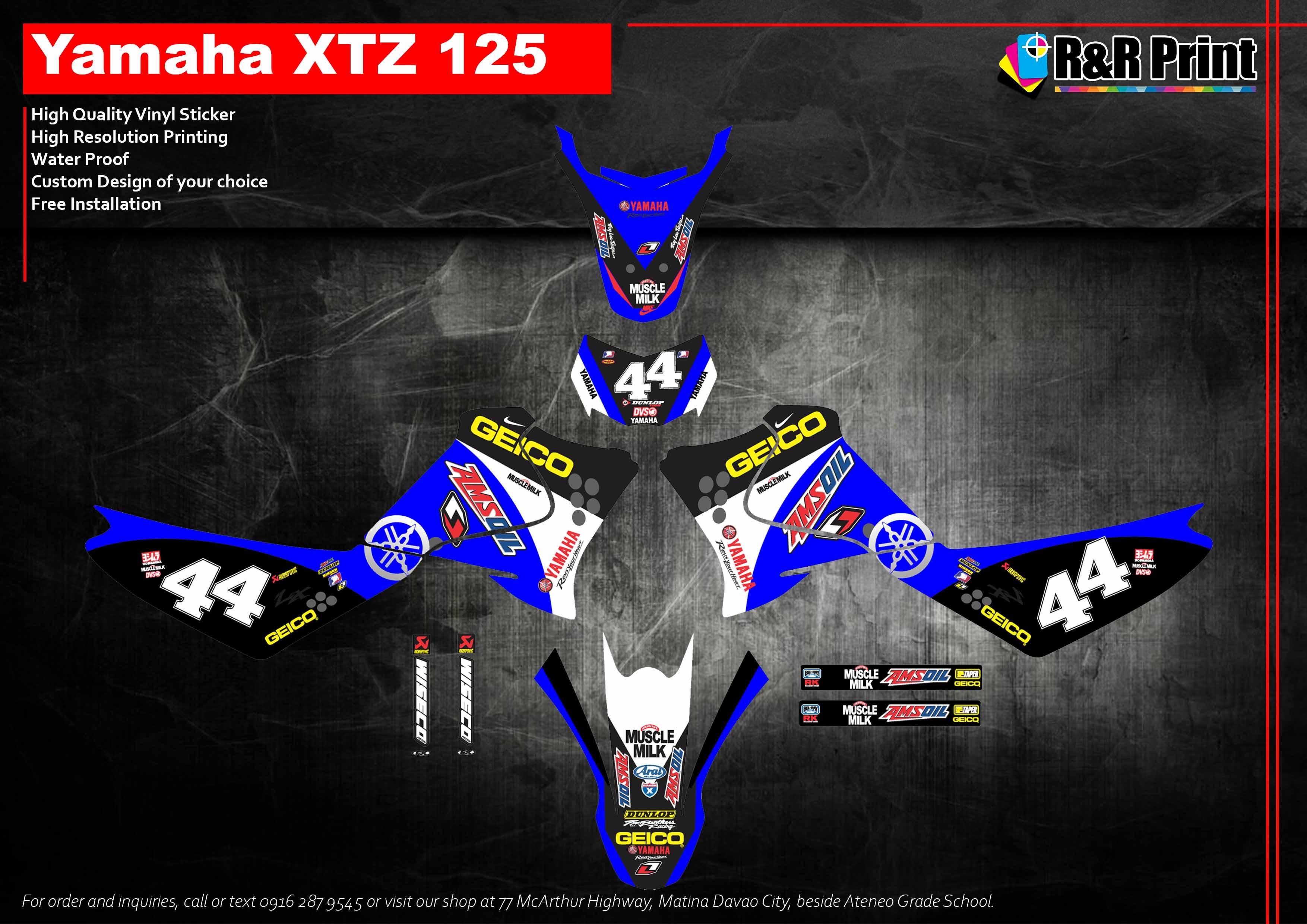 Yamaha xtz 125 decals sticker