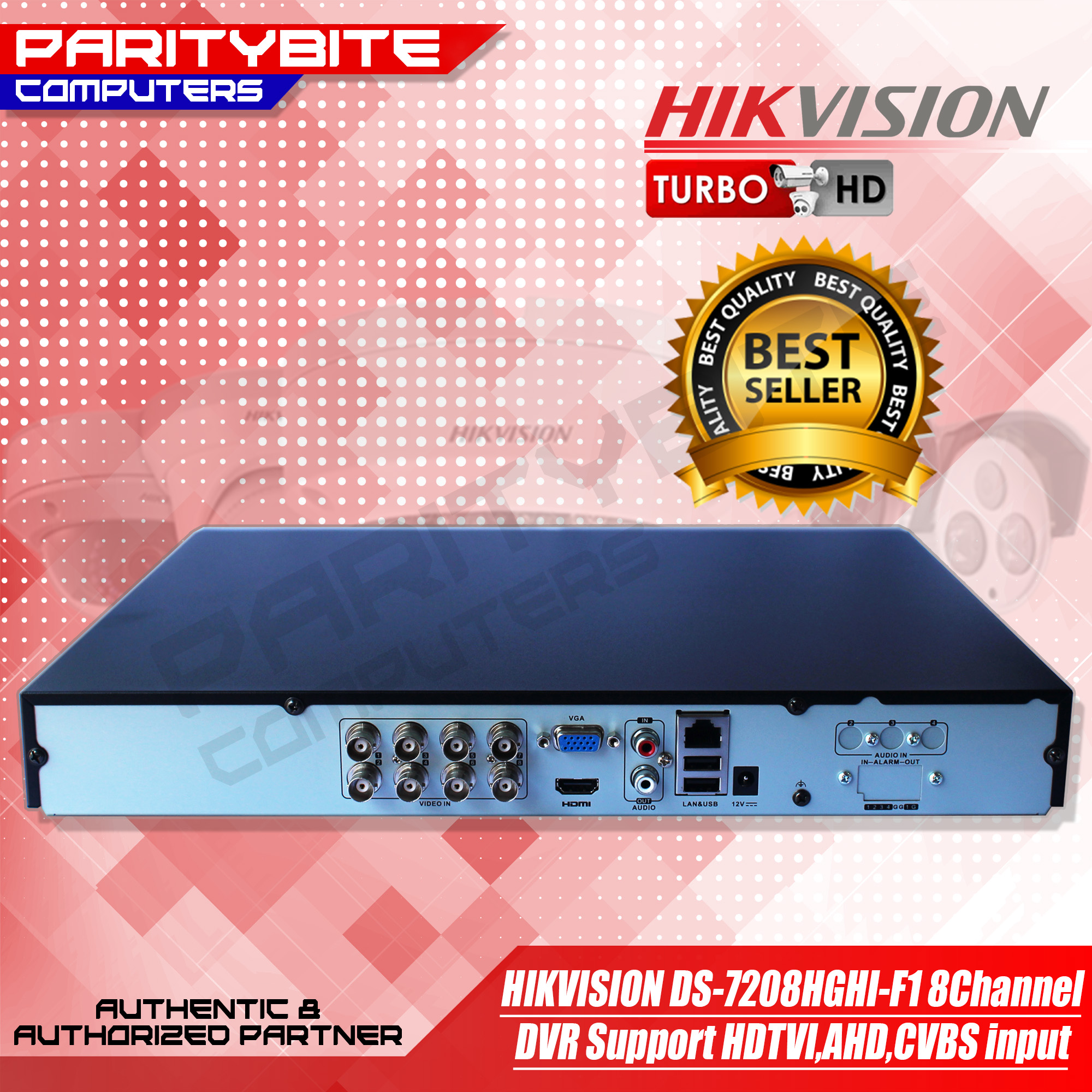 HIKVISION DS-7208HGHI-F1 8Channel DVR Support HDTVI,AHD,CVBS input