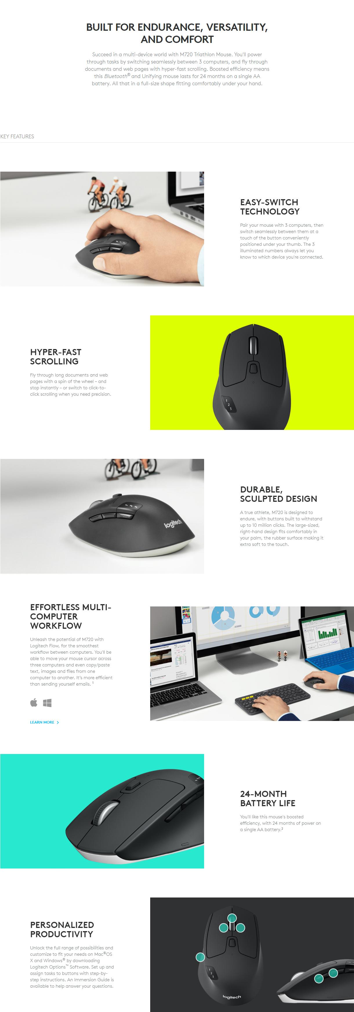 Product details of Logitech M720 Triathlon Multi device Wireless Optical Mouse Black