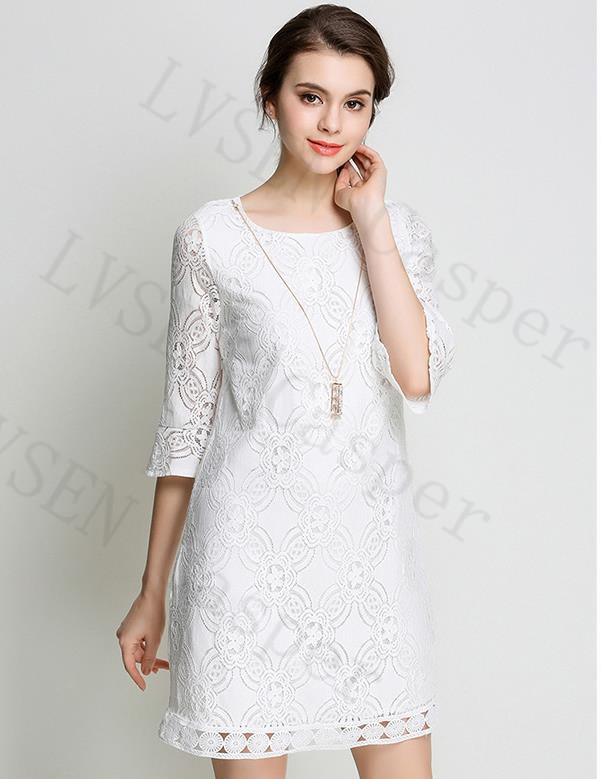 c71fa8c3540709 ♥Dress for any occasion:This sexy dress features three quarter sleeves,round  neck Lace neckline, midi length, flared skirt,suitable for dates,shopping  ...