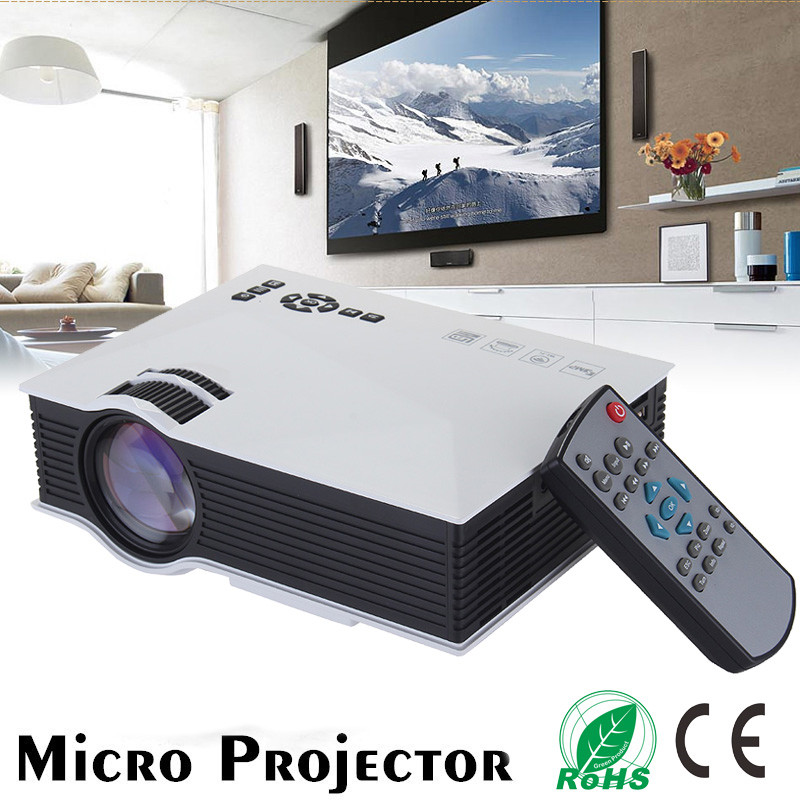 ORIGINAL Unic UC46 Mini WiFi Projector 1200 Lumens Media Player  IR/USB/SD/HDMI/VGA home theater Portable Projector (Black/White) UC 46 UC68  1800
