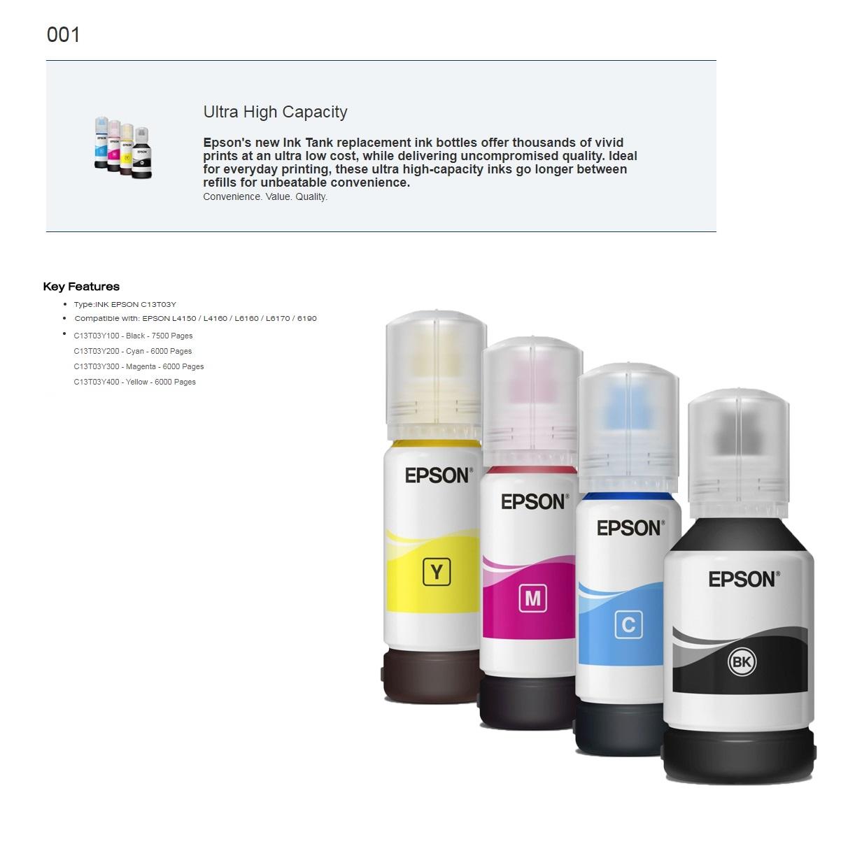 Epson 001 Original Inks (Set of 4 colors : C13T03Y100