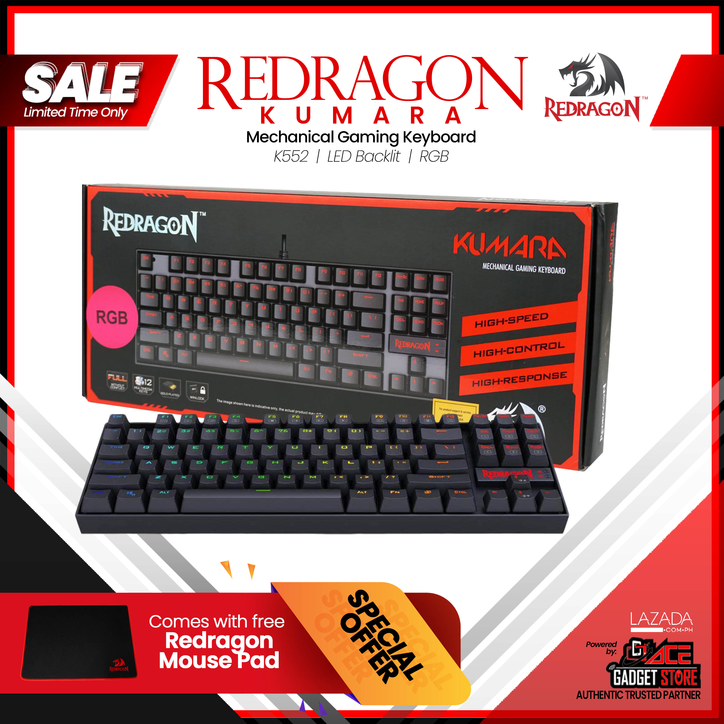 9a1cd3fb02d Redragon K552 KUMARA RGB LED Backlit Mechanical Gaming Keyboard Compact  87-keys Space Saving Design, frees up workspace on your desk without  sacrificing ...