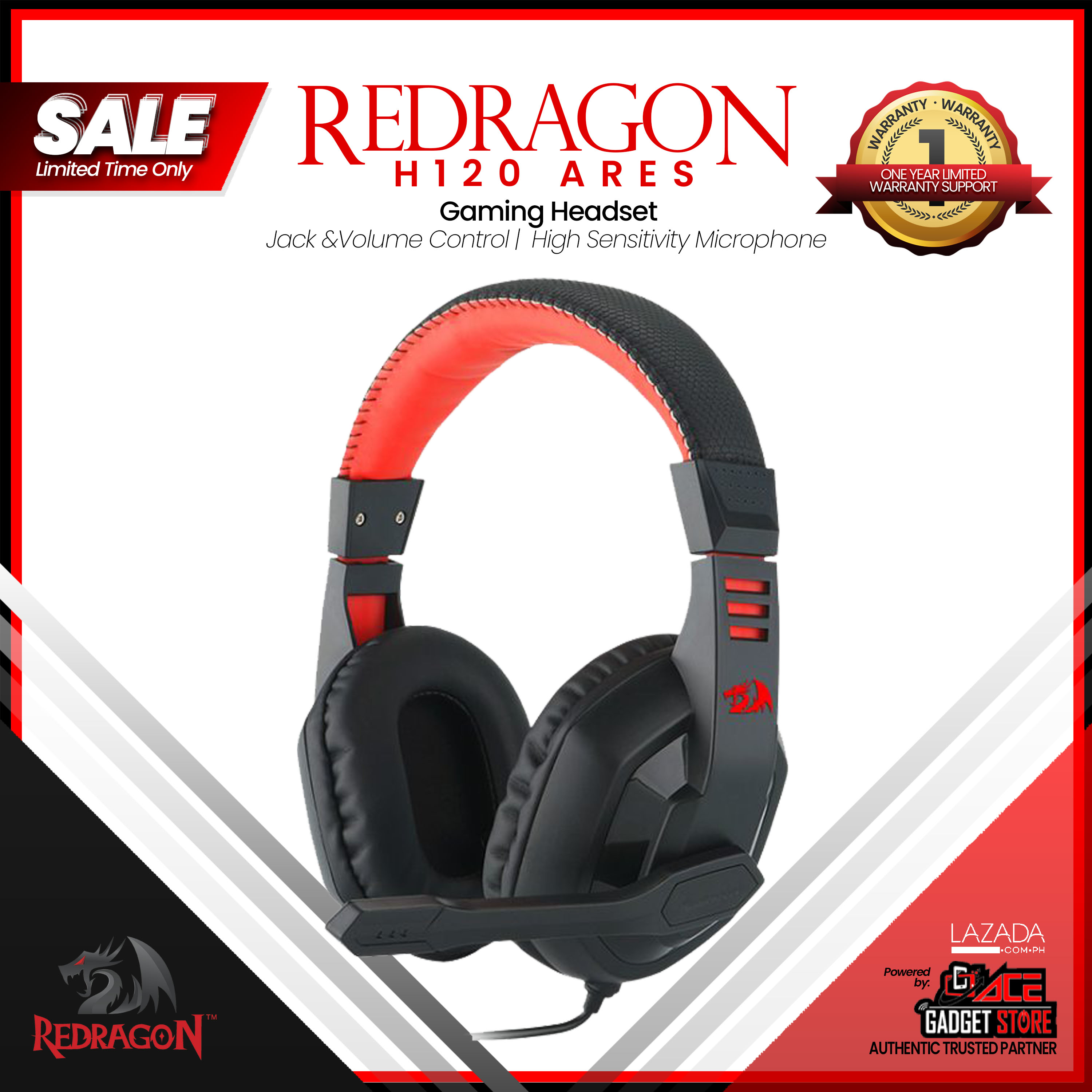 Redragon H120 Ares Gaming Headset, Wired Over Ear PC Gaming Headphones with  Mic Built-in Noise Reduction, for PC, Laptop, Tablet, PS4, Xbox One