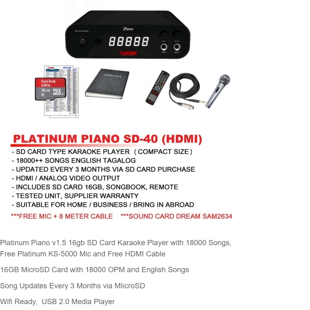 Platinum Piano 16gb Sd Card Karaoke Player With 18000 Songs Free Videoke Wiring Diagram Ks 5000 Mic And Hdmi Cable Lazada Ph