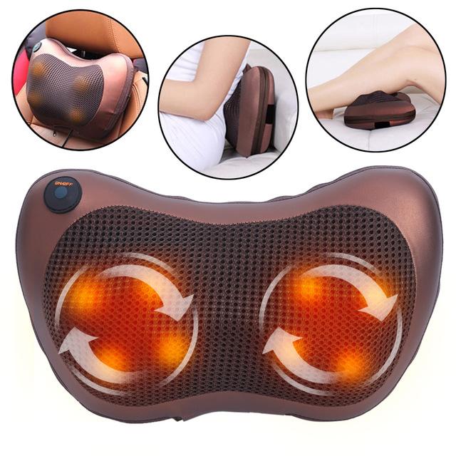 Car and Home Massage Pillow with Heat Deep Kneading Dual Vibrating Shiatsu  | Lazada PH