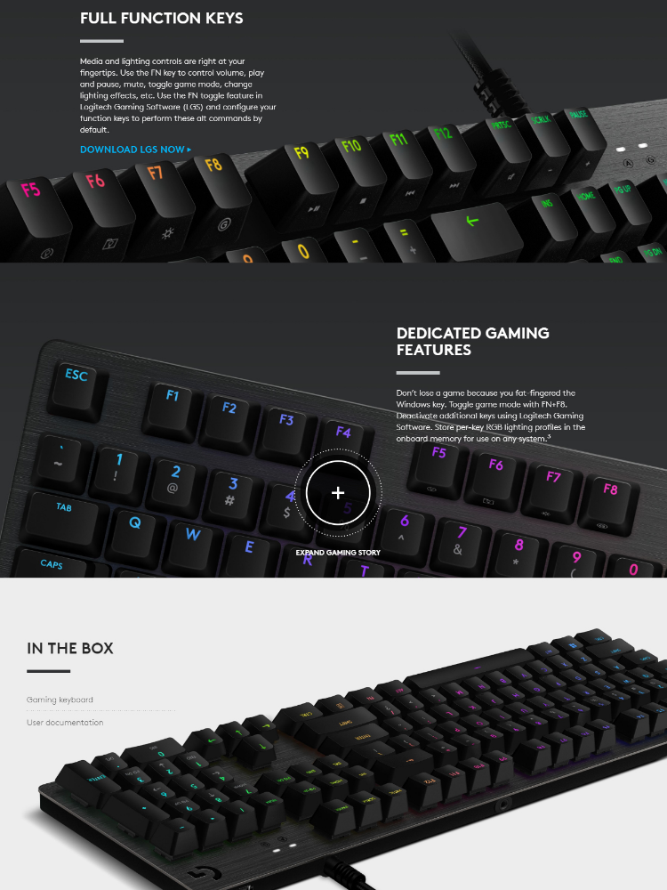 Logitech G512 Carbon Romer-G Linear Switch RGB Mechanical Gaming Keyboard