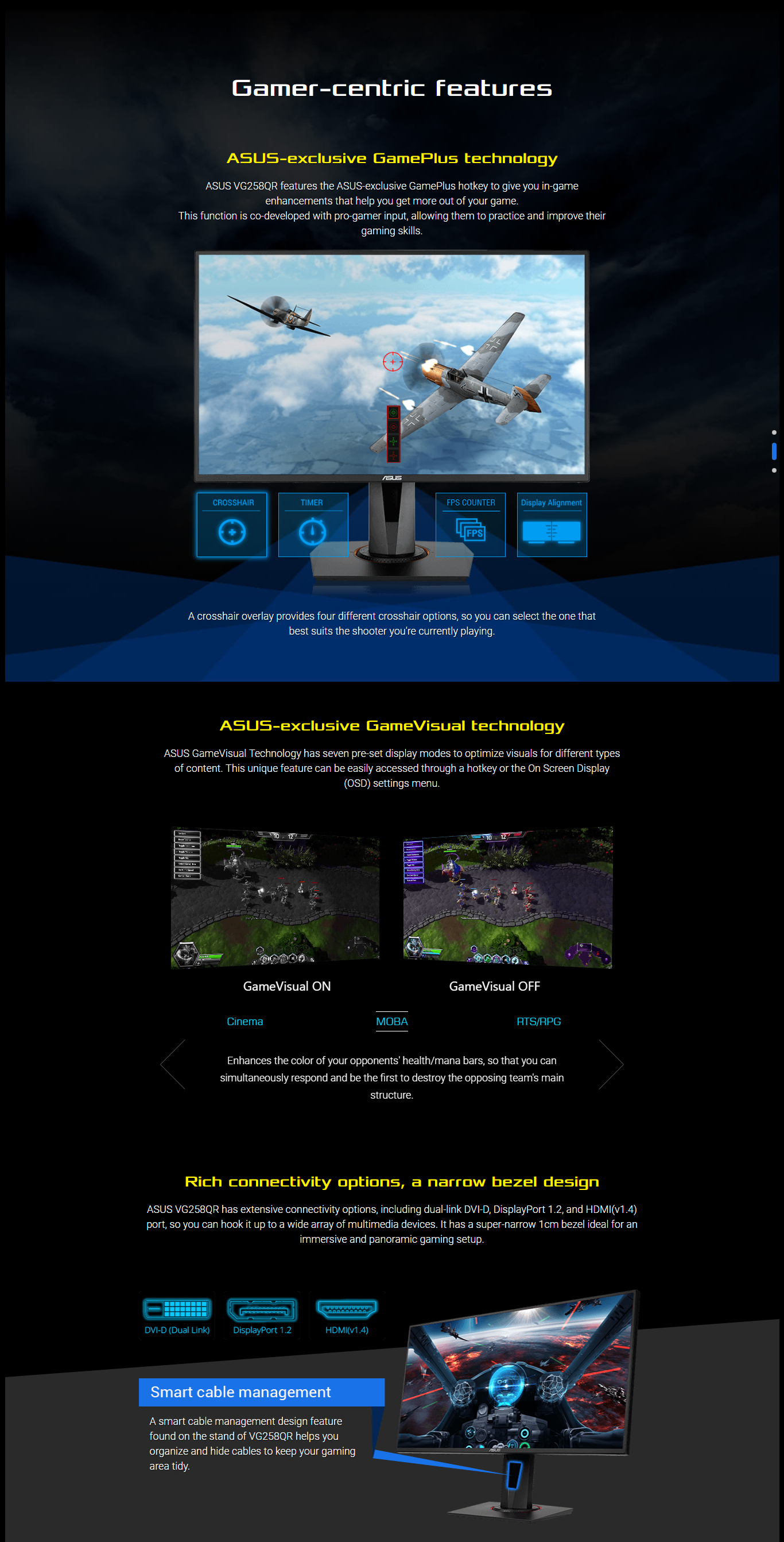 "ASUS VG258QR Gaming Monitor - G-Sync Compatible, 24 5"", Full HD, 0 5ms*  165Hz, FreeSync/Adaptive Sync"