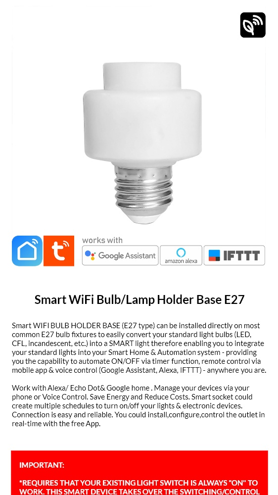 SMART LIFE Wifi Light Bulb Holder Socket E27, Home Automation Auto Timer,  Mobile APP, Voice Control (Google, Alexa, IFTTT supported)