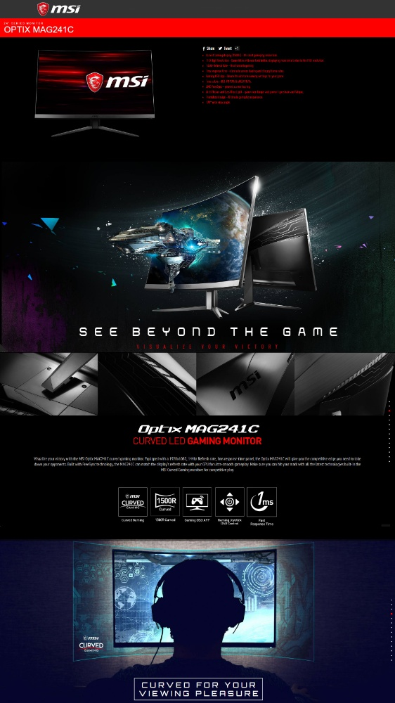 MSI Optix MAG241C Curved Gaming display 23 6