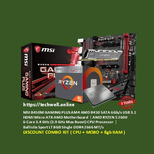 MSI B450M GAMING PLUS Motherboard │ RYZEN 5 2600 6-Core 3 4 GHz (3 9 GHz )  Processor │ Ballistix 8GB 2666MHz