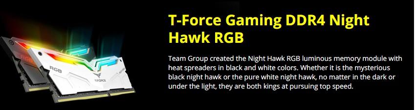 Ram   T Force Nighthawk RGB DDR4 3000Mhz 2x8GB (TF2D416G3000HC16CDC01) White