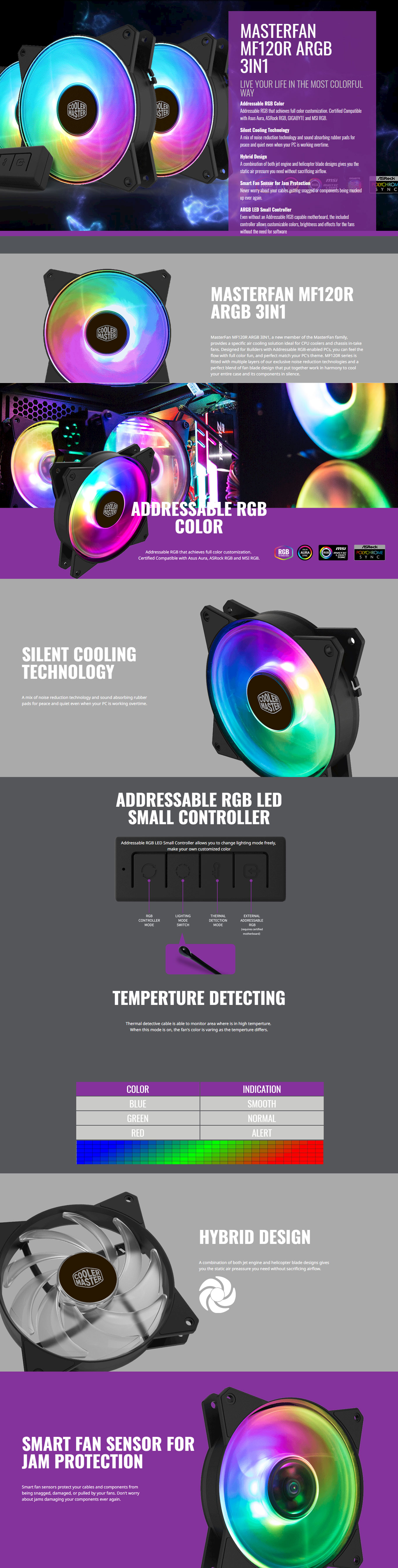 Cooler MasterFan MF120R ARGB 3in1 CPU Air Cooler (R4-120R-203C-R1)