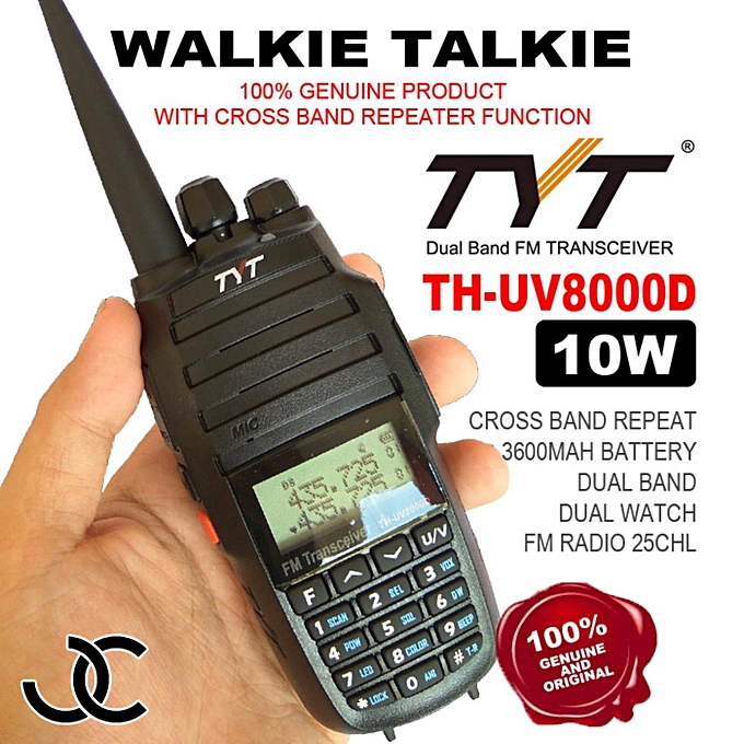 TYT UV8000D Two Way Radio 10 Watts Power with Cross Band Repeater Function  FREE HIGH GAIN LONG ANTENNA
