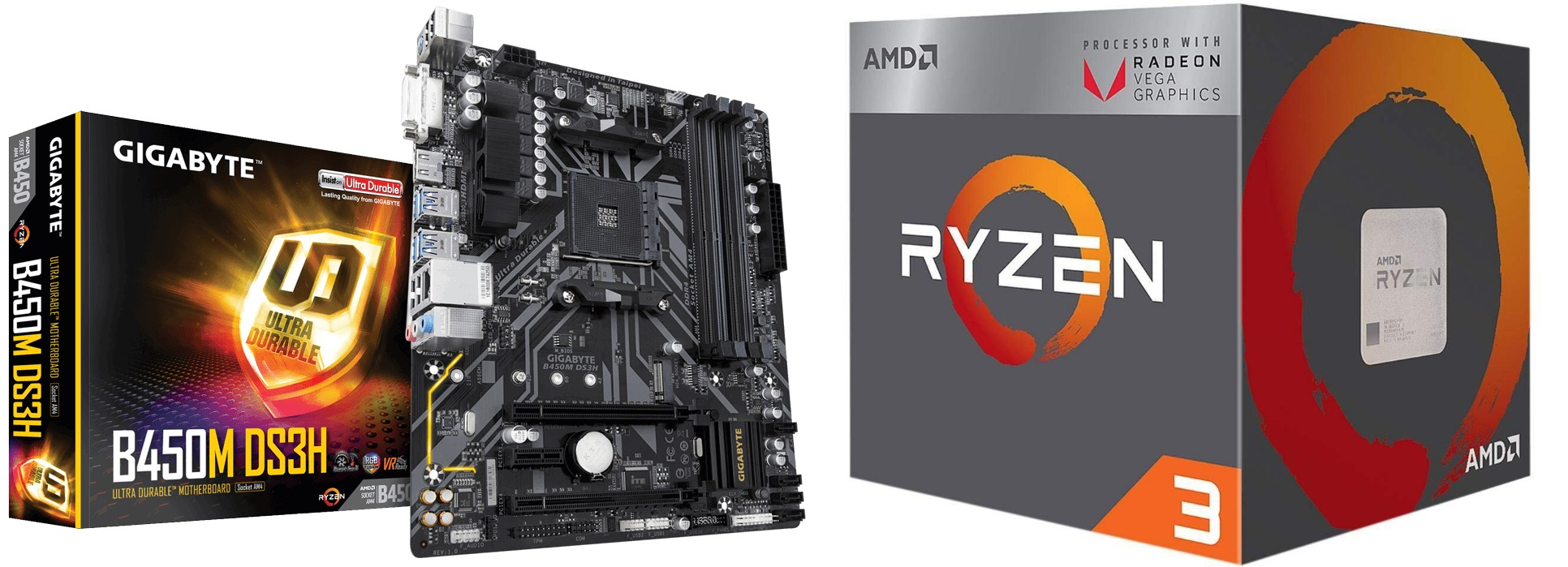 AMD Ryzen 3 2200G Processor with Radeon Vega 8 Graphics WITH GIGABYTE B450M  DS3H DDR4/AMD Ryzen AM4/B450/Micro ATX MOTHERBOARD