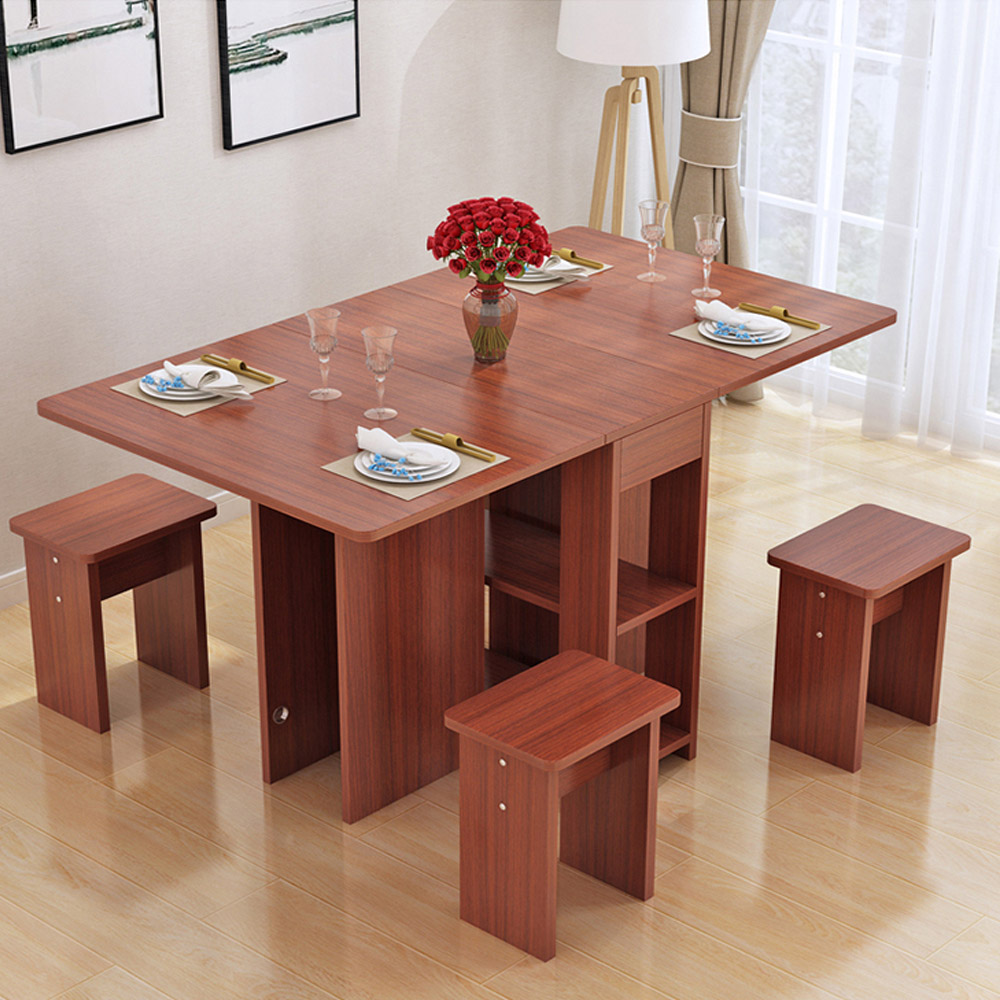 Kruzo Florence Extendable Folding Dining Table Set With 4 Chairs