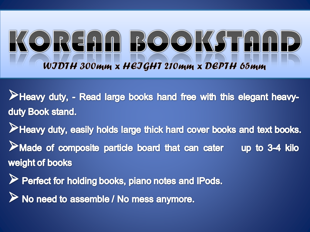 Korean Book Stand (W300mm x D65mm x H210mm - H220mm)