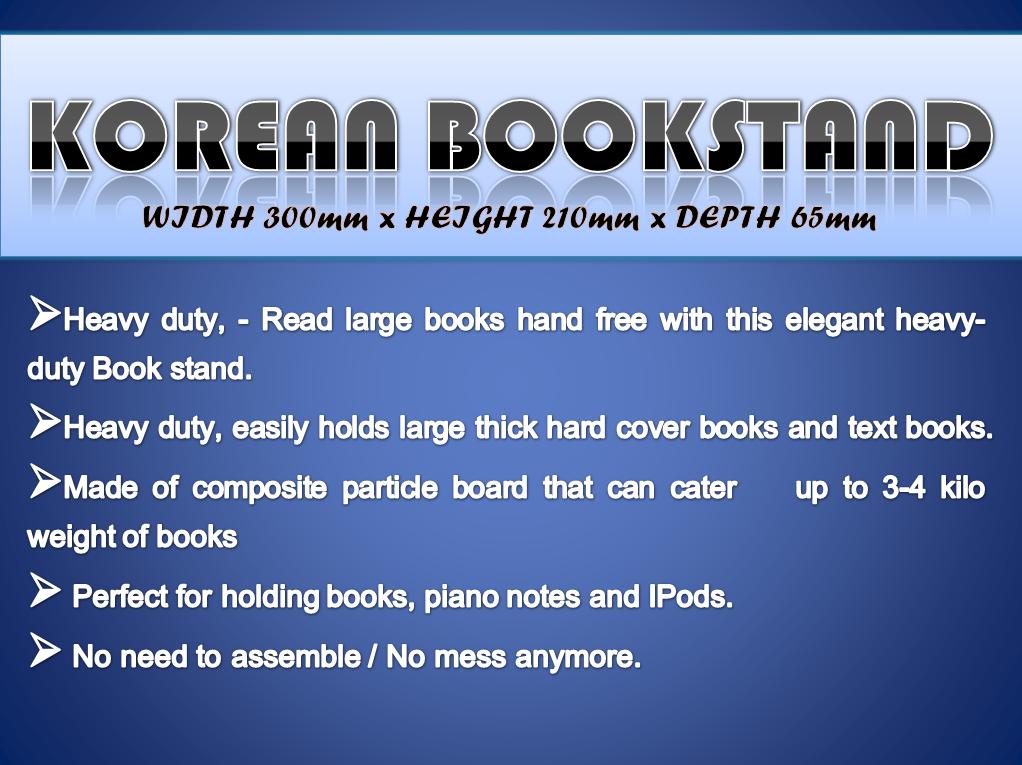 Korean Book Stand (W300mm x D65mm x H210mm - H220mm)