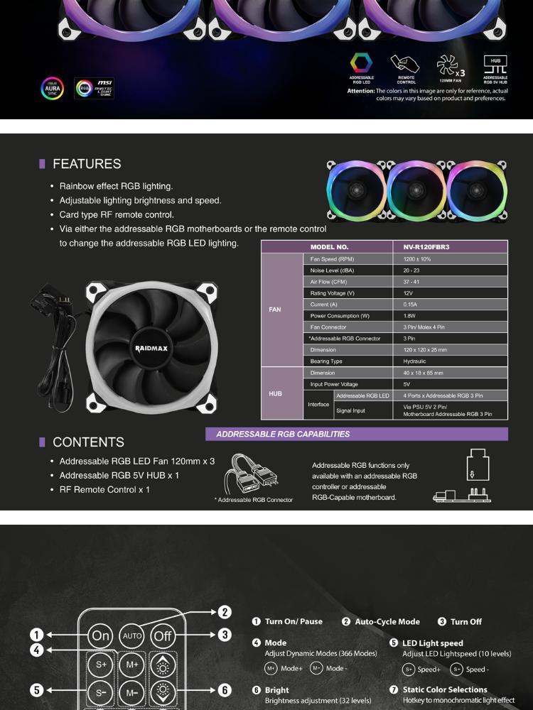 Raidmax NV-R120FBR3 RGB Fans 3in1 Addressable RGB Fans