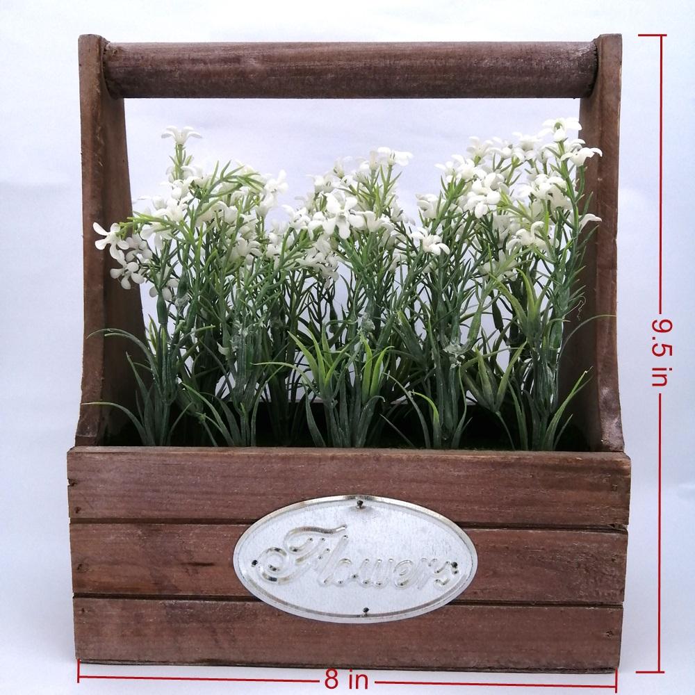 Vintage Nordic Artificial Flower Plant Indoor Decor Garden House Ornaments  Wooden Basket Style