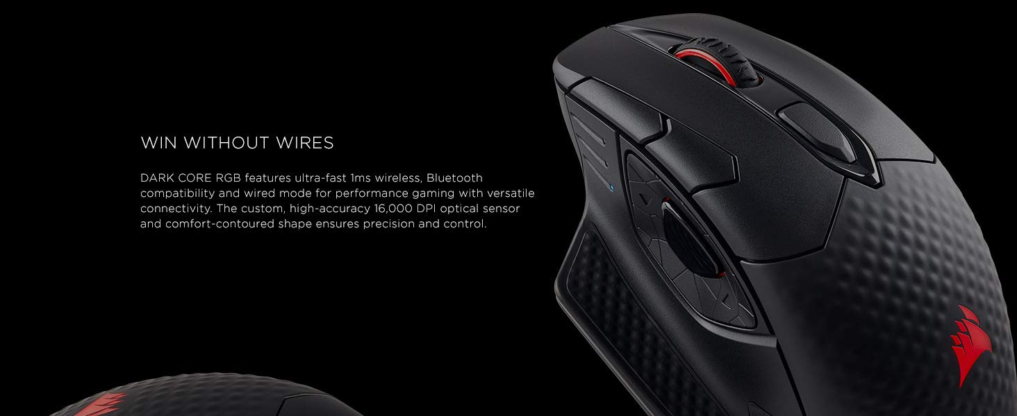 CORSAIR DARK CORE RGB SE Performance Wired / Wireless Gaming Mouse with Qi  Wireless Charging