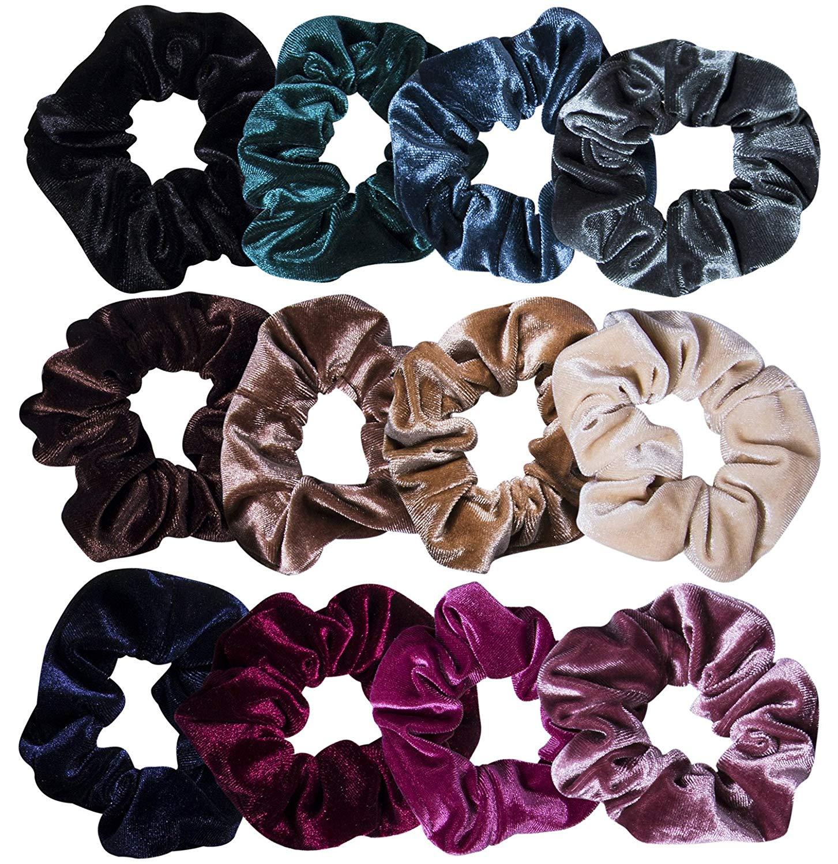 12 LARGE Velvet Hair Scrunchies Elastic Scrunchy Bobbles ponytail holder Fashion