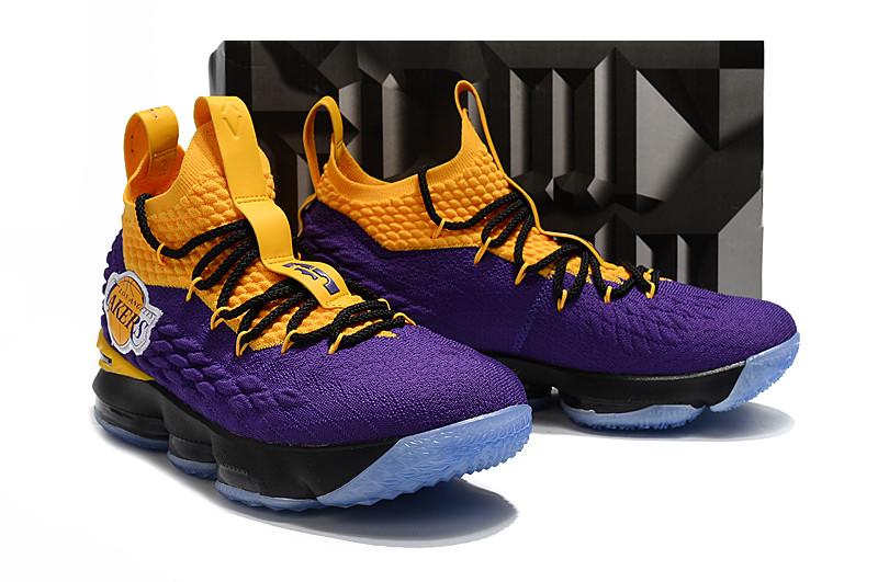 promo code b9f99 82bc9 Nike LeBron 15 Lakers Official LeBron James LeBron XV LeBron 15 EP Mid Top  LBJ MEN Basketaball Shoe Global Sales Breathable sneaker wear-resistant ...